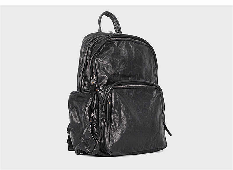PNDME высококачественный мужской рюкзак из натуральной кожи, роскошный женский рюкзак для ноутбука, повседневный простой дорожный Черный Большой рюкзак