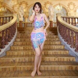 Image 4 - Frauen Bauchtanz Kostüm Set 2 stücke Bh Rock Sexy Pailletten Hüfte Schal Leistung Kleidung Tanzen Kleid Kleidung Bauchtanz Anzüge