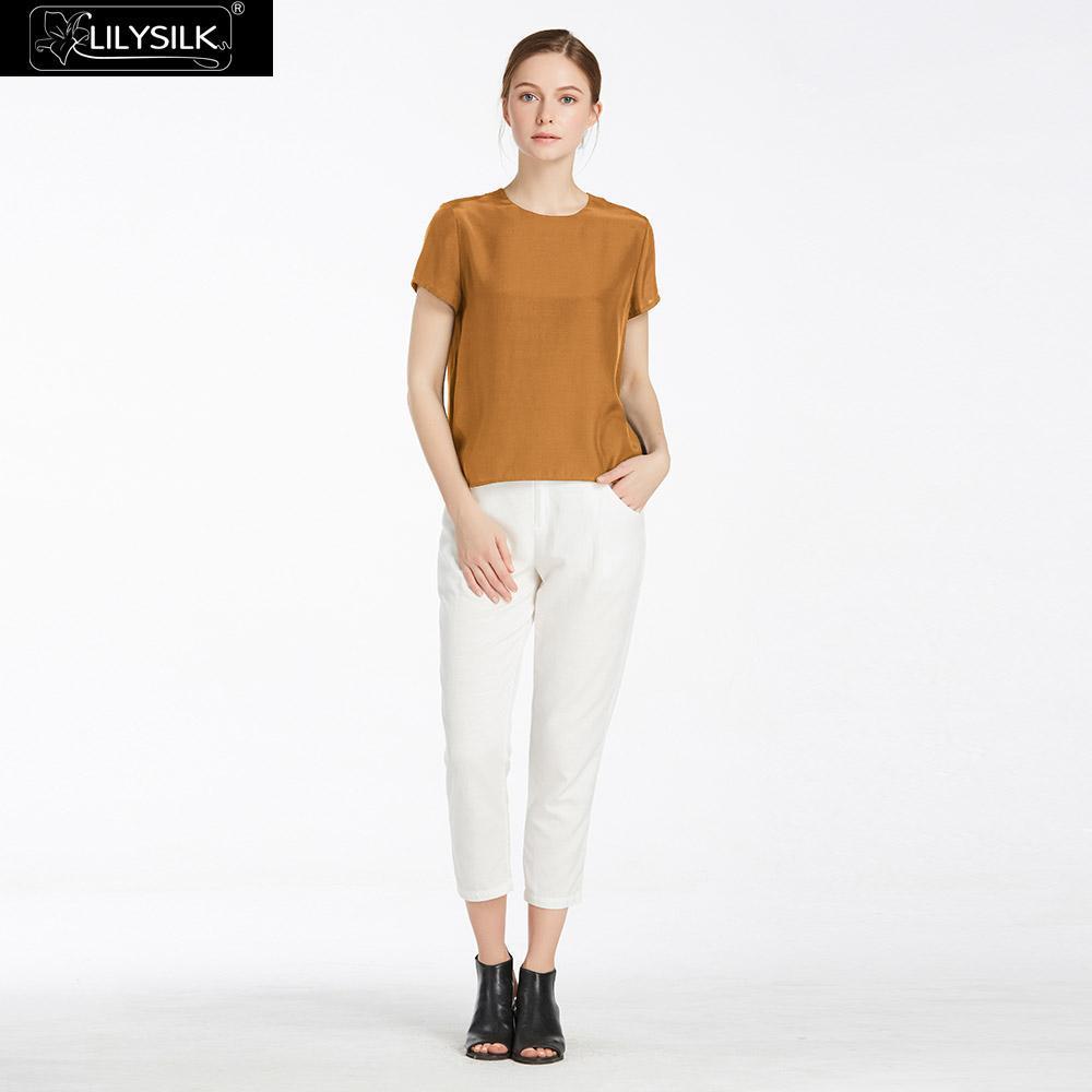 LilySilk Silk Blouse Women Top Shirt Short Sleeve Tee Ladies Pure Nature Mulberry Round Collar Button Slit Back Closure Elegant