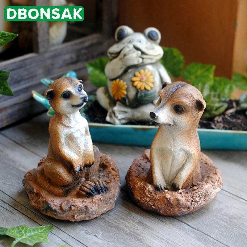 Mini Resin Small Meerkat Sculpture Simulation Mongoose Ornament Cartoon Animal Garden Statue Courtyard Balcony Garden Decoration
