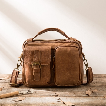 Hand Frosted Leather Shoulder Bag Retro Men's Leather Diagonal Men's Small Bag Casual Top Layer Leather Simple Messenger Bag
