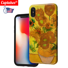 Luxury Glitter Art Work for iPhone 6S 6 7 8 Plus XS MAX XR sun flower silicon Phone Cases Case Cover Fine Van Goch