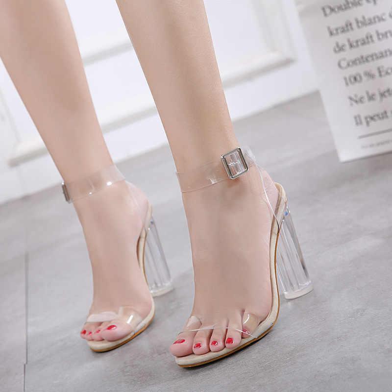 Seksi şeffaf yüksek topuklu kadın pompaları ayakkabı bayanlar parti ayakkabıları kadın yüksek topuk düğün ayakkabı talon femme fgb56