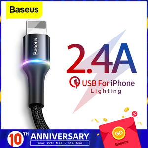 Baseus USB Cable For iPhone Charger Fast Data Charging Mobile Phone Cable For iPhone Xs Max Xr X 8 7 6 6S 5 5S Se iPad Wire Cord