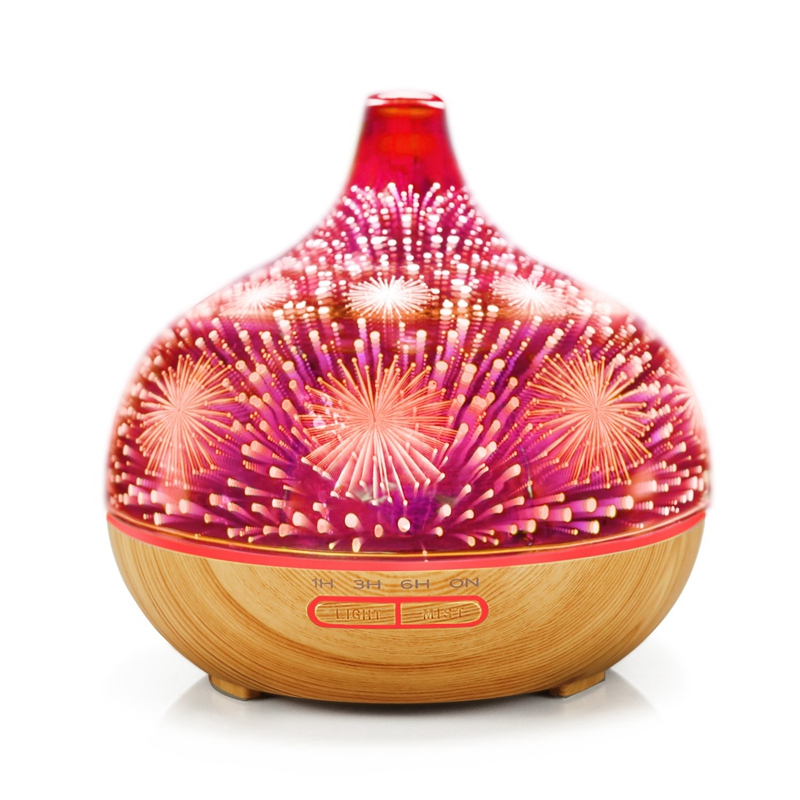3D Firework Glass Air Humidifier With 7Color Led Night Light Aroma Essential Oil Diffuser Mist Maker Ultrasonic Humidifier