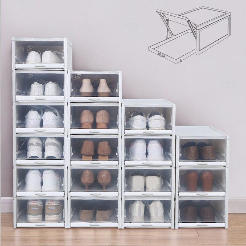 boite de rangement de chaussures en plastique empilable type a tirer transparent tiroir boite de baskets finition divers a rabat organisateurs
