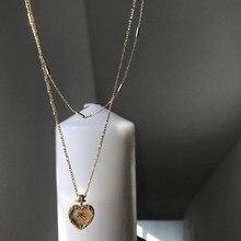 Silvology collar de doble capa de corazón de Plata de Ley 925, colgante Original de oro, colgante lateral creativo, joyería para mujer