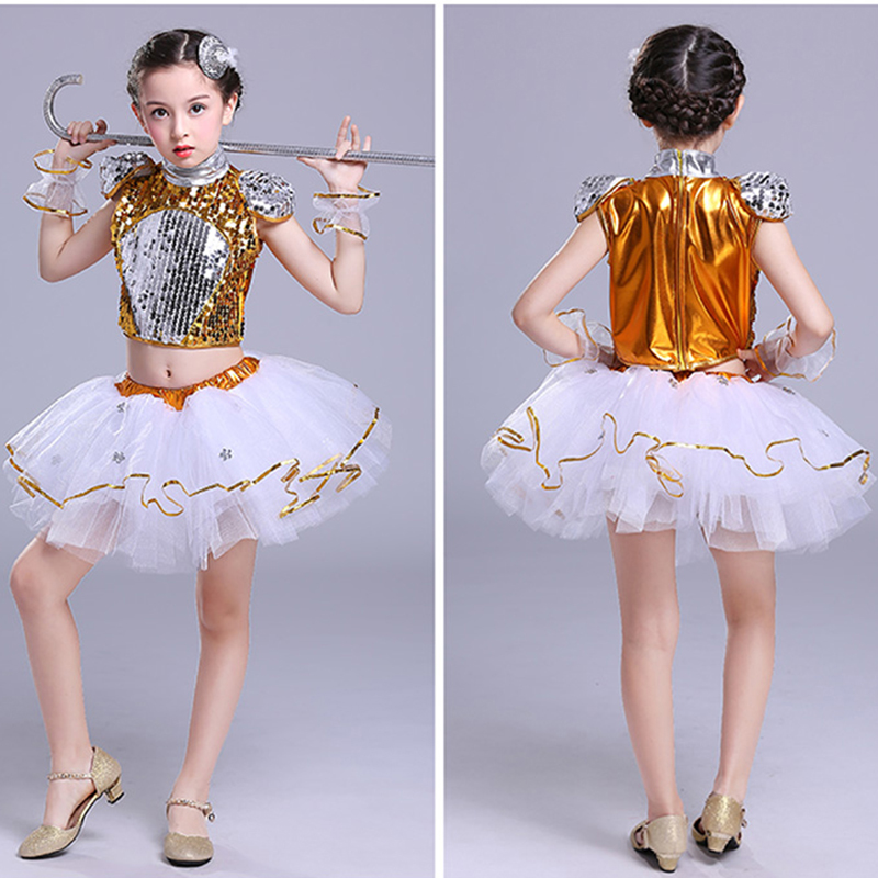 New Children's Jazz Dance Modern Cheerleading Costumes Hip Hop Boy Girls Crop Top And Pants Sequins Jazz Dance Performance Set