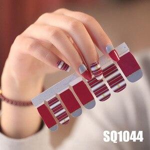 Image 5 - 14tips/лист Корейская версия многоцветные наклейки ногтей Обертывания полное покрытие лак для ногтей наклейки сделай сам аппарат для крепления на гвоздях и художественное оформление