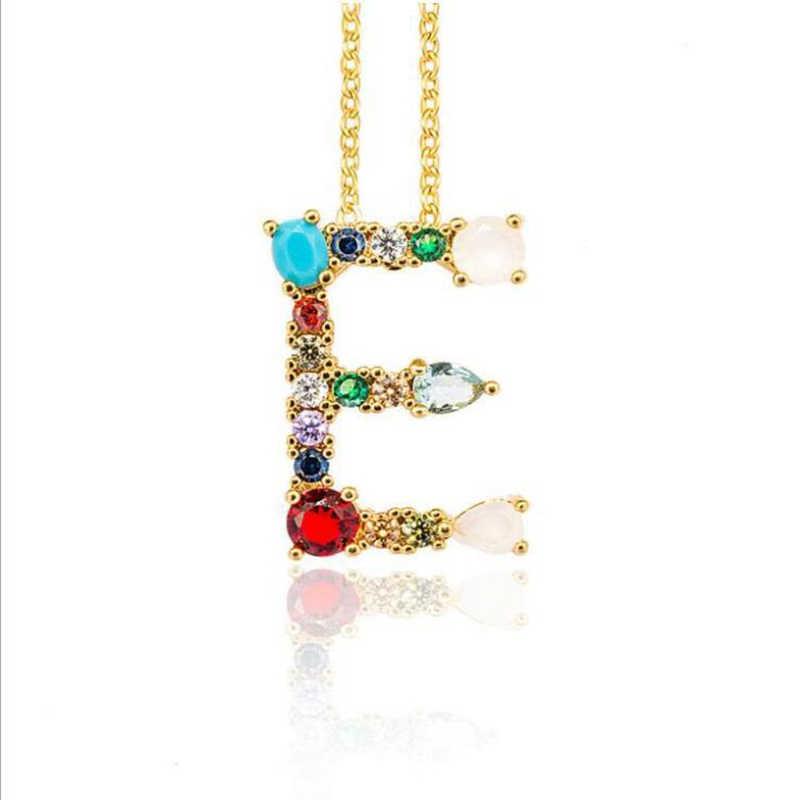 Multicolor แฟชั่น Charm 26 ตัวอักษรจี้สร้อยคอ Micro Pave Zircon เริ่มต้น A-Z Letter สร้อยคอคู่สร้อยคอชื่อ