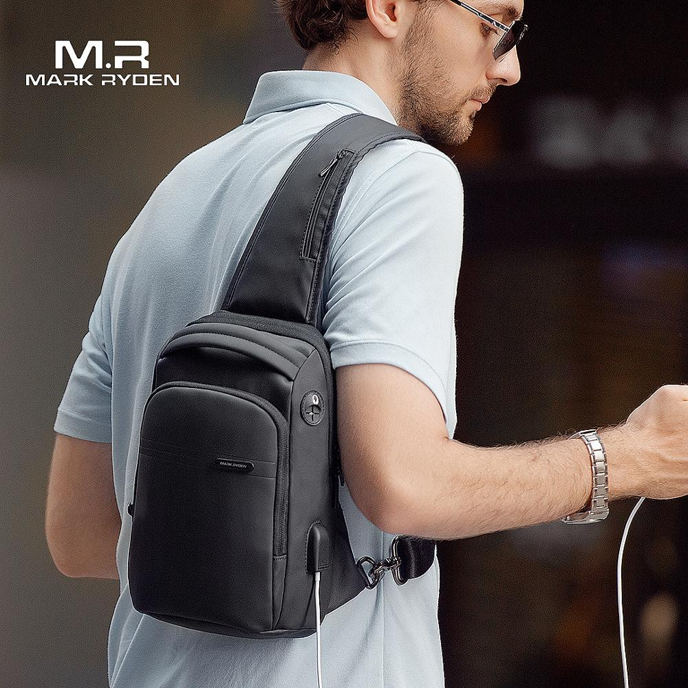 Mark Ryden New Multifunction Crossbody Bag Waterproof Men Sling Chest Bag Fit 9.7 Inch Ipad Fashion Shoulder Bag