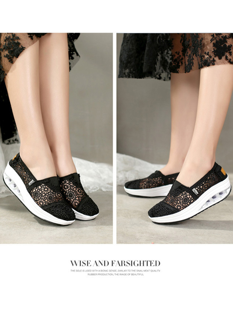 New Spring Summer Hollow Canvas Shoes Women Fashion Lace Slip on Shoes for Women Breathable Platform Shoes 2020 VT750 (6)