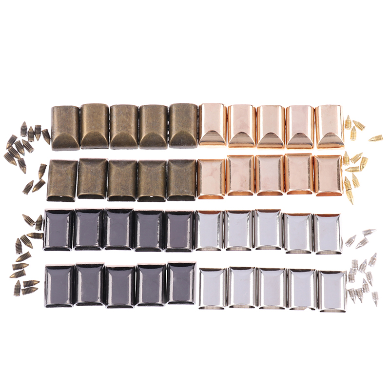 10pcs Leather Craft DIY Metal Zipper Tail Clips Buckle Stop Tail Plug Head Tool Fastener With Screws Bag Accessories