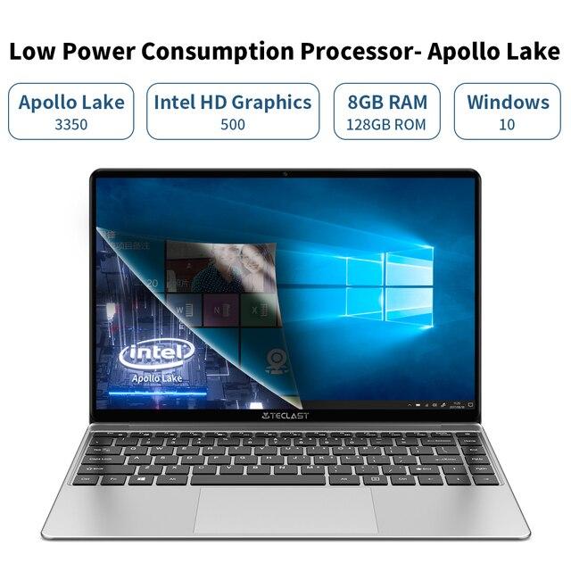 "Teclast f7s 14.1 ""portátil notebook 8gb ram 128gb rom laptops intel apollo lago duplo wifi computador 1920x1080 ips windows 10 2"