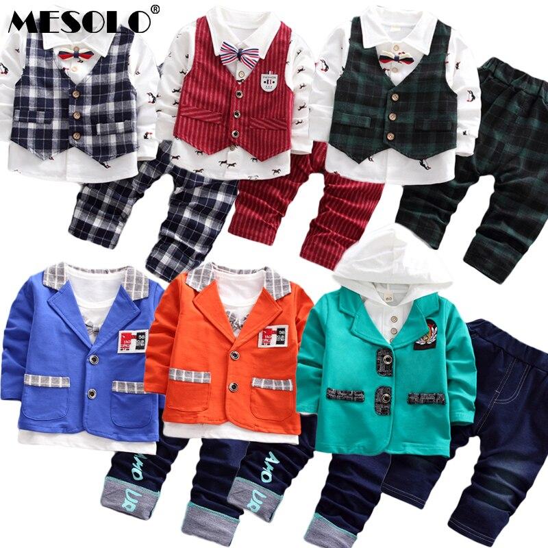 3Pcs Toddler Baby Boys Plaid Cartoon Shirt Tops+T Shirt+Pants Kids Clothes Set