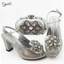 Pretty silver sandal shoes with handbag set with stones nice sandals and bag QSL026 heel height 9cm(China)