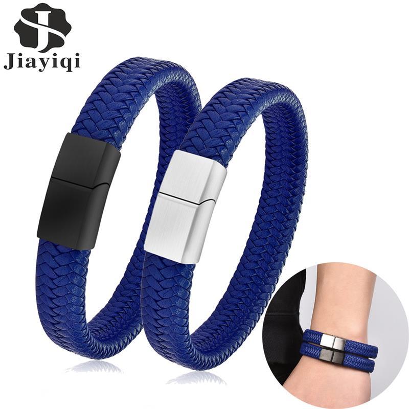 Blau Geflochtene Leder Armband für Männer Schwarz Silber Farbe Edelstahl Magnetische Haken Männlichen Armreif Mode Mann Schmuck Geschenk