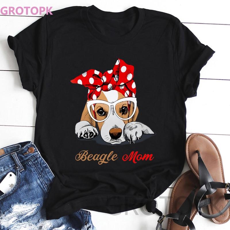 Kawaii Dog Prints Black Tshirt Short Sleeved Polyester T Shirt For Women Beagle Mom Vintage T-shirt Women's Fashion Harajuku Top
