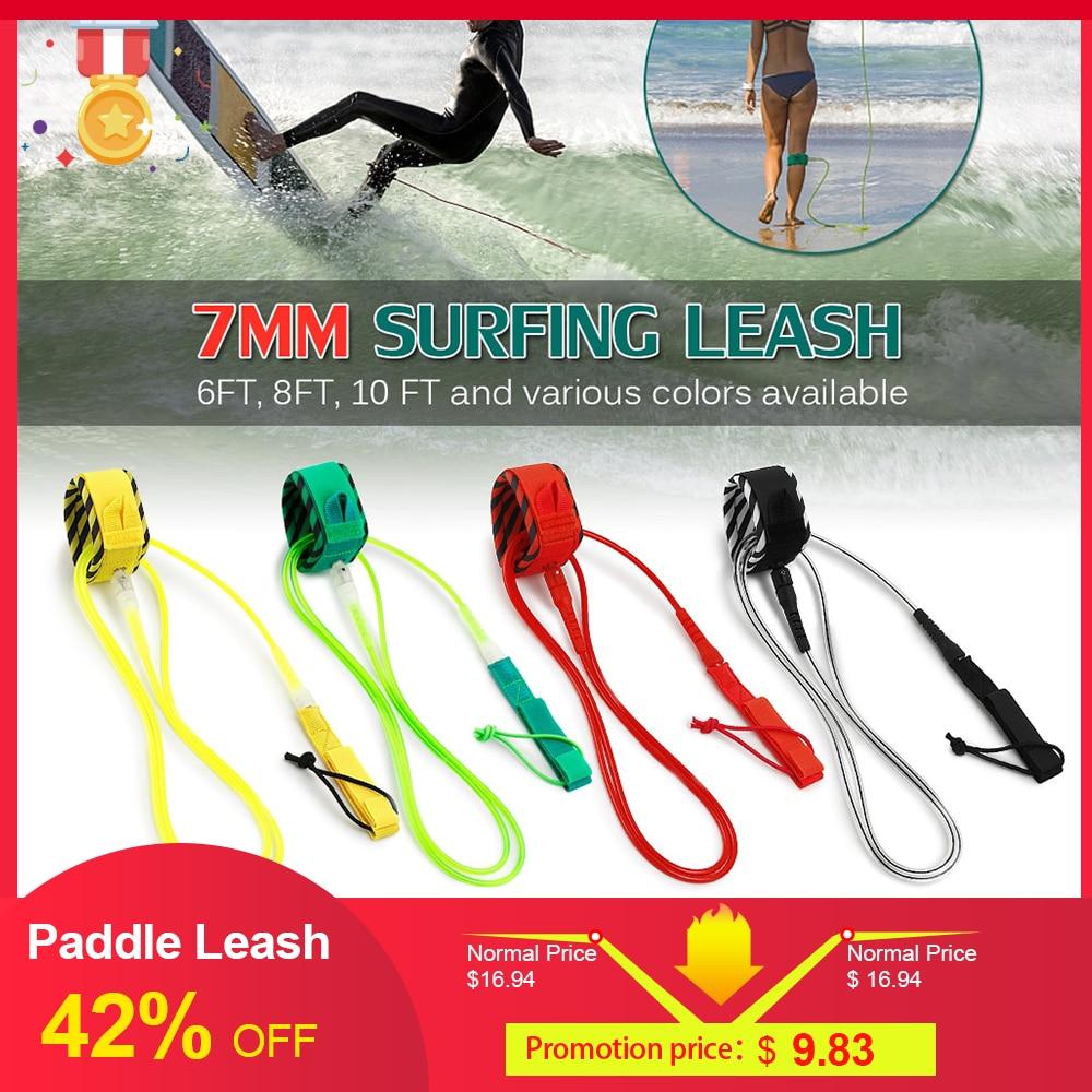 High Quality Paddle Leash Surf Leash  Surfboard Leash Smooth Steel Swivel Surfing Leg Rope Smooth Steel Paddle Board Leash 6FT
