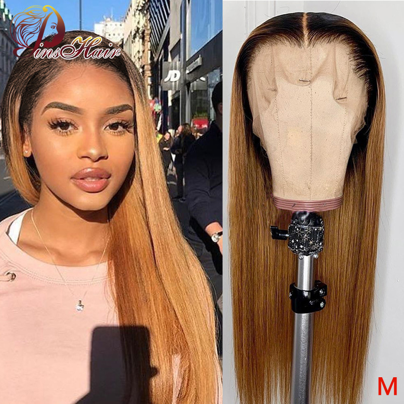 Pinshair 1B/30 Ombre Straight Lace Front Human Hair Wig For Women Brazilian Honey Blonde Lace Front Wig Non-remy Pre Plucked 150
