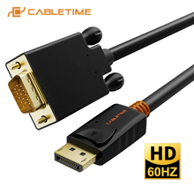 CABLETIME 2020 جديد ديسبلايبورت إلى كابل تجهيز مرئي DP إلى محول VGA ديسبلايبورت كابل الذهب لأجهزة الكمبيوتر المحمول العارض iMac HDTV C075
