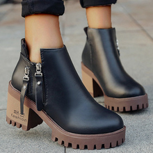Winter Women Ankle Knight Boot Leather Faux Suede Slim Fur Wedges Rubber Platfor