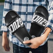 POSTOBON Men Slippers 2019 Summer Shoes Casual Breathable Beach Sandals Wedge Black White Flip Flops Slide Flat