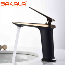 BAKALA Luxury Black Rose Gold Wash Basin Taps Modern White Faucet Bathroom Luxury Basin Faucets Hot Cold Water Sink Tap Mixer