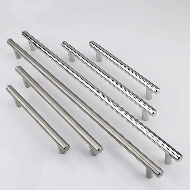 Sıcak satış paslanmaz çelik kulplar 50-500mm dolap kapı çekmece çekme kolları çapı 10mm T Bar düz kolu mobilya donanım