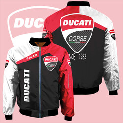 New men's winter Ducati motorcycle logo jacket casual Harajuku high-quality flight suit surrounding brand bomber sportswear top