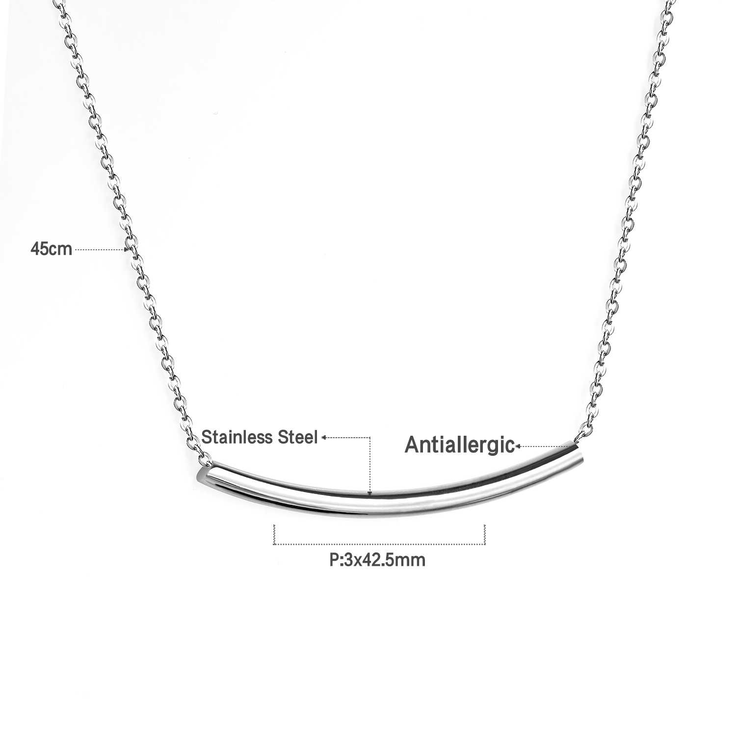 LUXUSTEEL Long Curved Horizontal Tube Bar Gold/Silver Pendant Necklace Stainless Steel Chains Necklaces Wholesale Party Friend