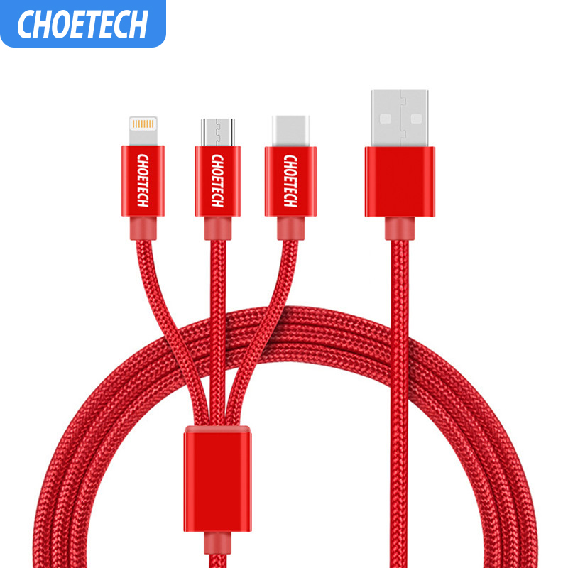 CHOETECH 3 in 1 Mobile Phone Cables For iPhone 8/8 Plus Nylon Braided Micro USB Cable Type C For Samsung S8 S9 Charging Cables-in Mobile Phone Cables from Cellphones & Telecommunications