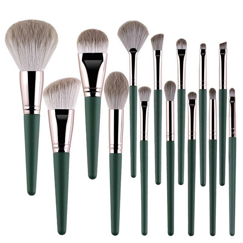 oubldior 14 pcs conjunto de escova de maquiagem fibra de cabelo punho de madeira fundacao sombra