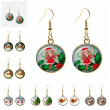 2020 New Santa Claus and Fawn Gift Pattern Series Glass Cabochon Fashion Ladies Earrings Earrings Ladies Jewelry Christmas Gifts