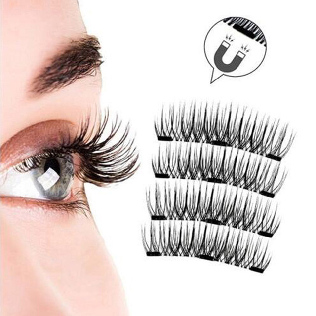 3D Magnetic Eyelashes with 3 Magnets Magnetic Lashes Natural Long False Eyelashes Magnet Eyelash Extension Makeup Tools 2