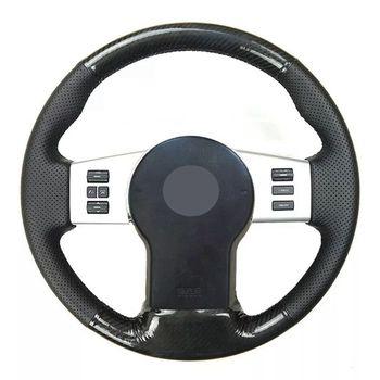 Ręcznie szyte miękkie czarne włókno węglowe czarne zamszowe osłona na kierownicę do samochodu Nissan Xterra Pathfinder Frontier tanie i dobre opinie GKMHiR CN (pochodzenie) Górna warstwa skóry Kierownice i piasty kierownicy 0 32kg Four seasons general purpose XCV12 Iso9001