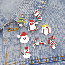 Latest For Christmas Making Brooch Pin Cute Snowman Santa Tree Alloy Jewelry Colorful New Year Gift