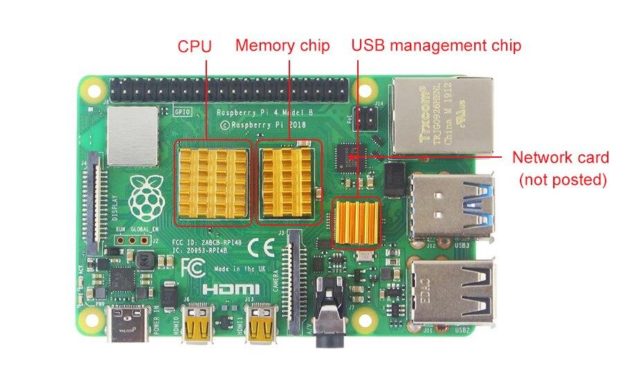 Raspberry Pi 4 радиатор 3 шт. алюминиевый радиатор комплект для охлаждения кулер