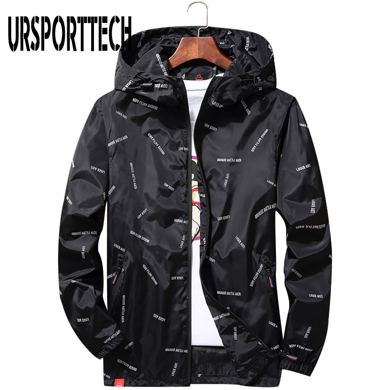 Spring Mens Thin Jacket 2019 Autumn Plus Size 8XL 10XL Hooded Windbreaker Men's Coat Casual Loose Letter Print Jackets And Coats