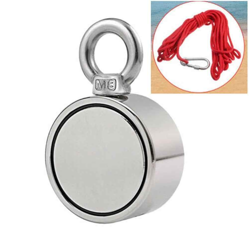 200/300/500Kg NdFeB Magnets Steel Double Single Side Neodymium Metal Magnet Detector Fishing + 10M Rope