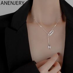 ANENJERY 925 en argent Sterling trombone collier pour les femmes mode chaude géométrique clavicule chaîne bijoux cadeaux S-N751