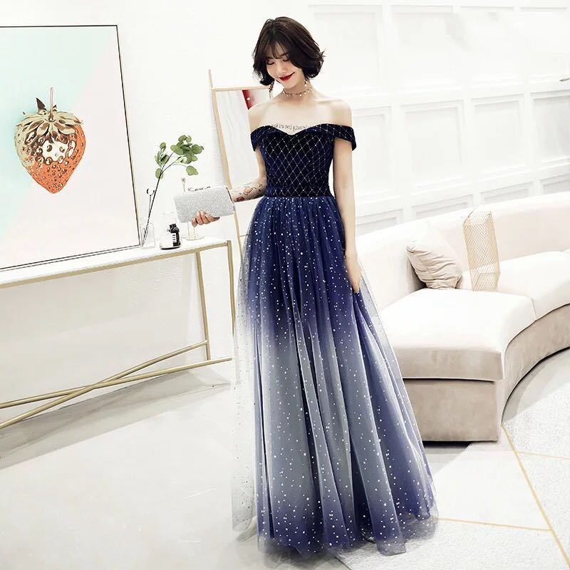 Bridesmaid Dresses Long Dress Sexy Female, 2020 New Autumn And Winter Party Long Word Shoulder Host Gradient Starry Evening