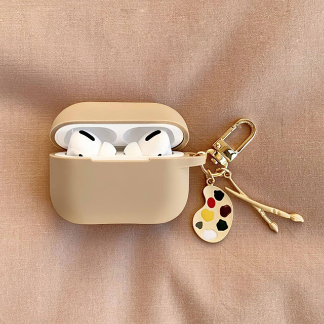 fundas For AirPods 1 2 Case Cute Cute Palette Ice Cream Pendant keyring Headphone Case For Airpods 3 Pro Silicone Earphone Cover 3