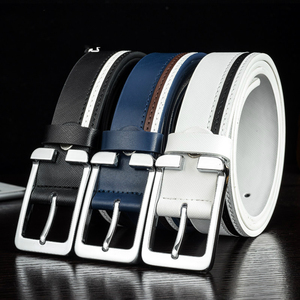Men's Two-layer White Leather Belt Real Genuine Leather Belts for Man Top Quality Male Casual Pin Buckle Belt Men Belt Leather