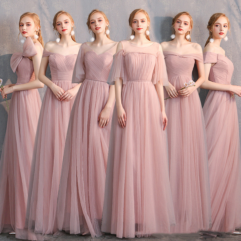 Bridesmaid Dresses Pink A-Line Wedding Guest Gown Sexy Boat Neck Off The Shoulder Formal Dress Floor Length Elegant Vestido R057