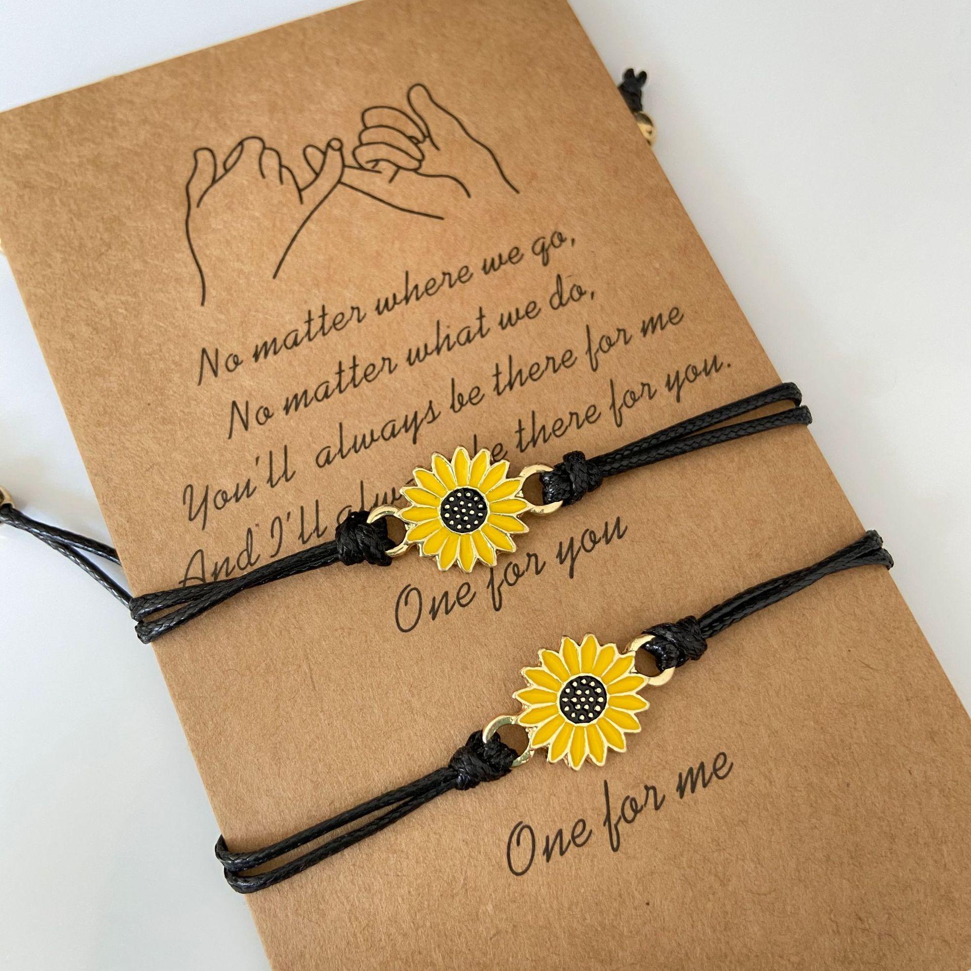 Прочная хлопковая нить подсолнечника плетеные браслеты ручной работы с черной веревки браслеты с подвесками дружба поздравительной откры...