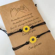 Cordão de algodão girassol pulseiras feitas à mão trançado com corda preta charme amizade desejo cartão surf bangle jóias presente