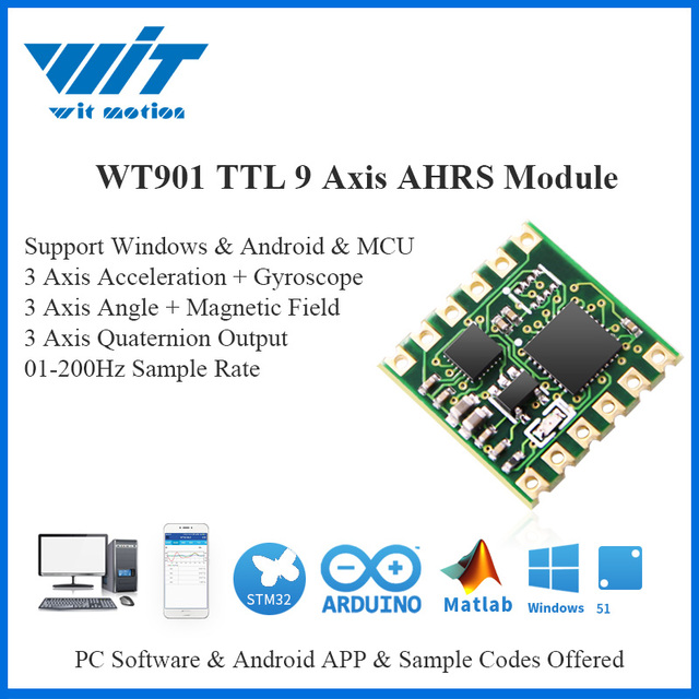 WitMotion WT901 TTL & I2C 9 Axis Sensor Digital Angle + Accelerometer + Gyroscope + Electronic Compass MPU9250 on PC/Android/MCU