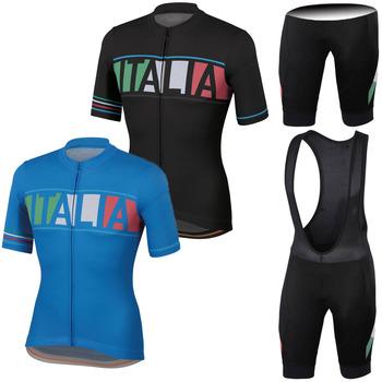 2020 włochy odzież rowerowa kompletny zestaw koszulek rowerowych mężczyźni szosowe koszule garnitur wyścig rowerowe spodenki na szelkach MTB Bici spodnie ubrania tanie i dobre opinie CN (pochodzenie) 100 poliester Polyester Spandex Lycra Gel pad Krótki rękaw Factory direct sales 80 poliester i 20 lycra