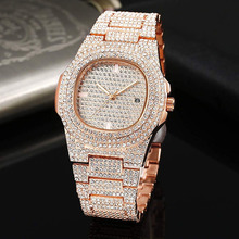 Rose Gold HIP HOP Watch Men Diamond Watches Top Brand Luxury Iced Out Male Quartz Calender Big Dial Gift for